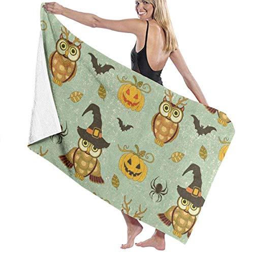 xcvgcxcvasda Serviette de bain, Vintage Owl Pumpkin Halloween Spider Personalized Custom Women Men Quick Dry Lightweight Beach & Bath Blanket Great for Beach Trips, Pool, Swimming and Camping 31