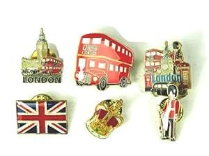 Pin Badges 27000S6 Lot de 6pin's en métal Motif bus londonien/scènes londoniennes/garde royal/couronne/Union Jack