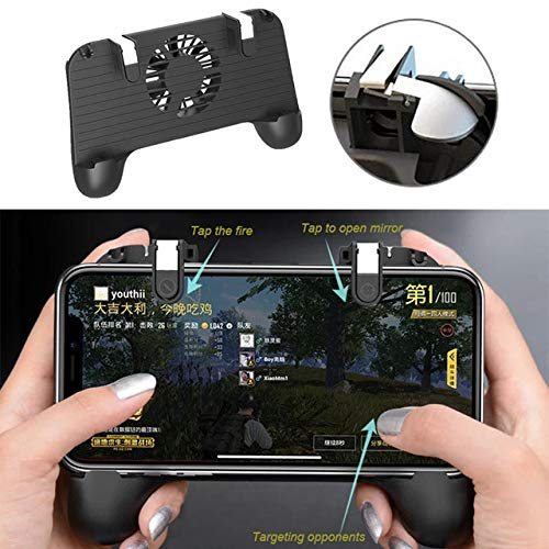 Alician PUBG L1R1 Gamepad Gamepad Joystick Controller Ultra-Portable Grip Holder with Muute Heat Dissipation Fan -