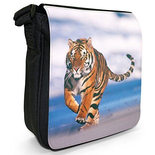 Wild Tigre Borsa a spalla piccola di tela, colore: nero, taglia: S Nero (Tiger Running On The Beach)