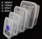 chengyida 4Stück Größe Behälter, rechteckig luftdicht Container, sicher Behälter Set, Lebensmittel Container, Kunststoff