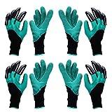 yardsky 4 Paar Wasserdichten Gartenhandschuhe mit Krallen Garten Werkzeug Krallenhandschuhe Handschuhe mit Klauen (2 Paar für Rechtshand und 2 Paar für Linkshand)