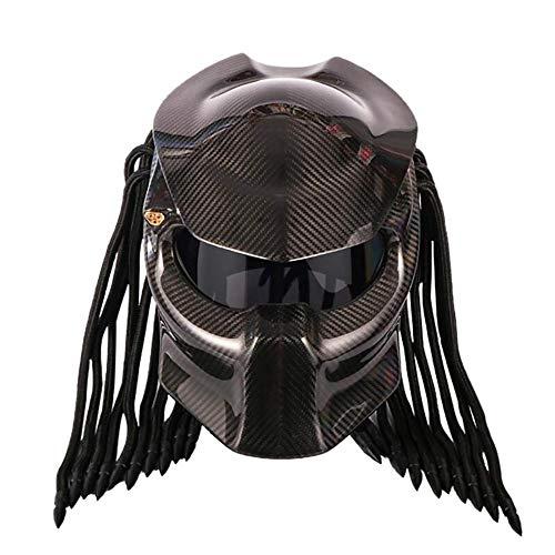 SJAPEX Integrali Casco da Motociclista, Predator Motorcycle Helmet Full Face Mask in Fibra di Carbonio Iron Man con Trecce a Frange LED Light - incl. DOT Approv
