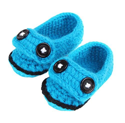 Bigood(TM) 1 Paar Strickschuh One Size Strick Schuh Baby Unisex süße Muster 11cm Blüte Pink A Blau C
