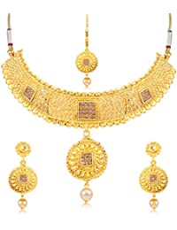 Sukkhi Graceful Gold Plated Choker Necklace Set For Women