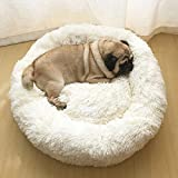 Mollismoons Fluffy Portable Soft Plush Round Calming Sleeping Bed for Dog, Pet (White, 99 cm)