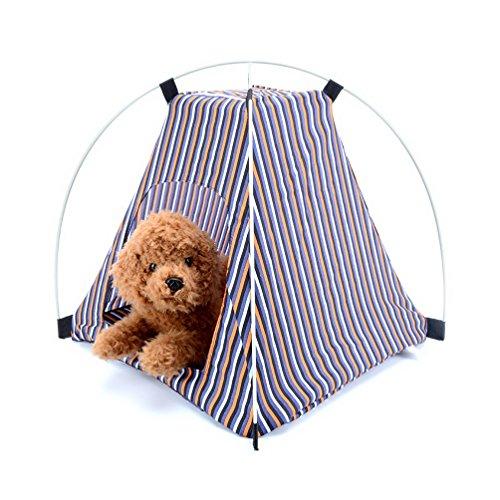 selmai Small Pet Dog Zelt Classic Stripe Pop Up tragbar faltbar winddicht Sun Shade Wild Style Zelt House für Strand Camping Picknick Reise -