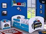 Kinderbett mit Matratze Bettkasten und Lattenrost Blau verschiedene Motive (160x80cm mit Schublade, POLIZEI)