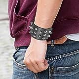 Oidea Herren Leder Armband Set (3PCS ), Punk Rock Stil 3.5cm-4.1cm Breite Große handgefertigt Manschette Kordelkette geflochtenes lederband Taper Nieten Armreifen, Legierung, silber schwarz - 3