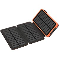 Solar Charger 24000mAh,MIXSEN Waterproof Power Bank with 3 Solar Panels Foldable Portable Battery Pack 2 USB For iPhone,iPad,Samsung,All Smartphone(Orange)