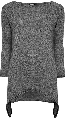 Dunkelgraue Sweatshirts (WearAll - Übergröße Damen Neutraler Long Sleeve Hanky Hem Damen Strick Swing-Top - Dunkelgraues Fleck - 44-46)