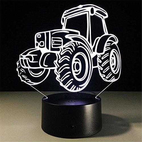 HHORD Persönlichkeit coole Traktor 3D Schreibtisch Lampe bunte LED visuelle Nacht Licht bar kreative Dekoration Geburtstag Geschenk Lampe (Mehrfarb-Dimmen) Jahrhunderts Traktoren