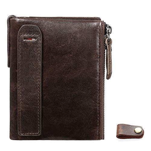 flintronic® Billetera de Cuero, Billetera con Cremallera,Billeteras RFID de Damas para Hombres -#2 Marrón (Incluye Winder)