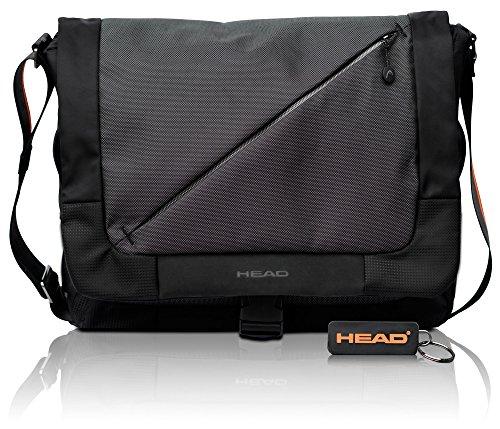 """HEAD Lead Umhängetasche für Damen und Herren, Businesstasche mit 15\"""" Laptopfach und RFID Reißverschlussfach, Schwarz"""