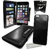 """Stylebitz / Élégant étui portefeuille en cuir PU avec coque magnétique détachable pour Apple iPhone 6 (4.7"""") avec chiffon de nettoyage Stylebitz (noir)"""