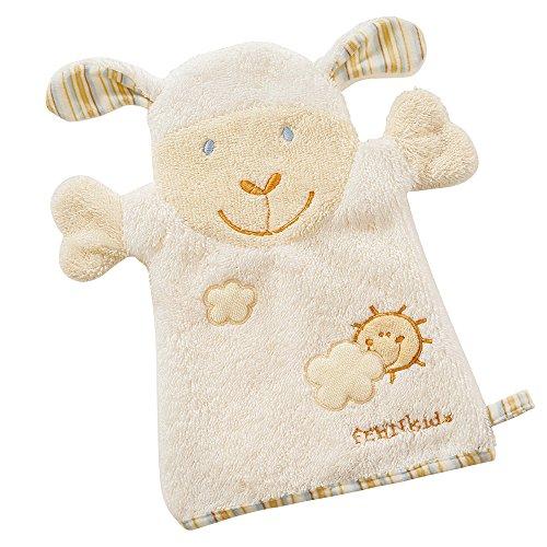 Fehn 397482 Waschhandschuh Schaf/Waschlappen mit Tiermotiv für fröhlichen Badespaß, für Babys und Kinder ab 0+ Monaten