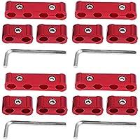 KIMISS 12Pcs Separadors del alambre de la bujía del motor de la aleación de aluminio - 8mm 9mm 10mm Divisors del coche(Rojo)
