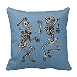 Akhy Vintage Day of The Dead Dancing Skeletons Pillow Case 18 x 18 Inch