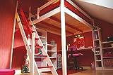 ABC MEUBLES - Lit Mezzanine Sylvia avec escalier de meunier Bois - 1130 - Blanc/Rouge, 140x200