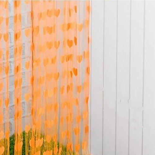 Fadenvorhang mit Herz-Motiv, Fenster-Teiler, Durchsichtig, Vorhänge – romantische Liebesherzen – Vorhang Spaghetti dichte Perlen Vorhänge für Türen, Orange, Free Size