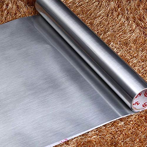 KYKDY Cocina PVC Papel pintado autoadhesivo Plata