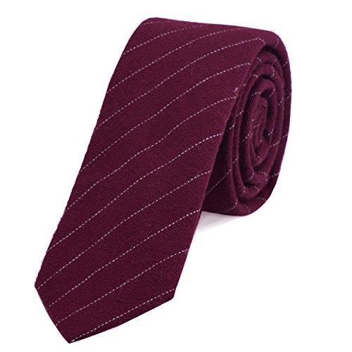 DonDon Corbata de rayas de algodón para hombres de 6 cm -...