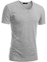 HEMOON Homme T-shirt basique à Manches courtes