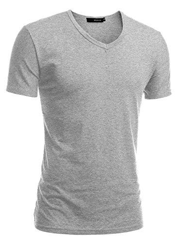 HEMOON Herren Slim Fit Kurzarm T-Shirt Basic V-Ausschnitt Tee Einfarbig Hellgrau L (Hellgrau T-shirt)