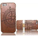 Vandot 1X madera shell funda Case Cover iPhone 6 6S 4.7 pulgadas caso Brújula Compass híbrido retro madera cubierta caja de bambú premium trasera dura de la contraportada del patrón Pattern lujo caso hecho a mano Protección Business de madera de bambú natural-marrón