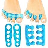 auvstar Fuß Aligner Zehentrenner–(2Paar) Silikon Gel Spacer–Pediküre Fuß Streichmesser–Zehen Pads & Kissen für Männer & Frauen