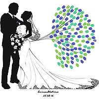 Huella Dactilar Firma Libro Visitas Lona Pareja Casada Impresión Del Pulgar DIY Registrarse Vestido Novia Blanco