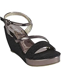 Kinni Kat Women's Stylish Premium Quality Synthetic Leather Black Color High Heel Casual And Party Wear Wedges