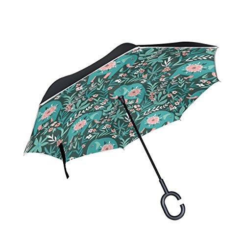 Mnsruu - Paraguas invertido de Doble Capa con diseño de Elefantes en...