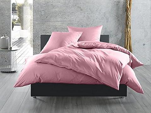 Mako-Satin Baumwollsatin Bettwäsche uni einfarbig zum Kombinieren (Bettbezug 240 cm x 220 cm, Rosa)