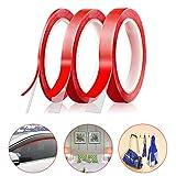 FEIGO 10M Hochleistungsklebeband 3 Rolle doppelseitiges Klebeband Hochtransparenten Klebeband UV-beständig Temperaturbeständig Montage Klebeband für Metall, Kunststoff, Holz Glas (3mm/7mm/10mm) (Rot)