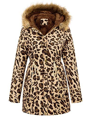 GRACE KARIN Mujer Abrigo Chaqueta Parka Militar Anorak Acolchado Largos Leopardo L CLAF1030-8