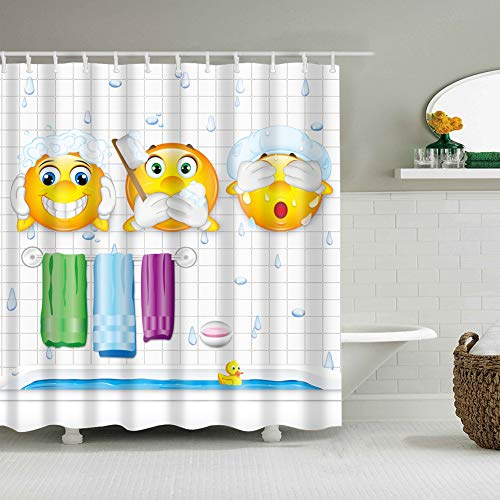 Weißer kleiner Kasten-Hintergrund 3 gelbe lustige Avatara-Hand, die Zahnbürste leckt Gesicht 3 Handtuch-Seifenblase 3D-Digitaldruck feuchtigkeitsbeständiger Mehltau Badezimmerzubehör +12 Haken hält
