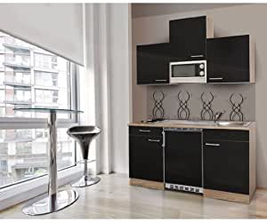 respekta kb150essmi mini cuisine quip e avec bloc de cuisine de 150 cm en imitation ch ne brut. Black Bedroom Furniture Sets. Home Design Ideas