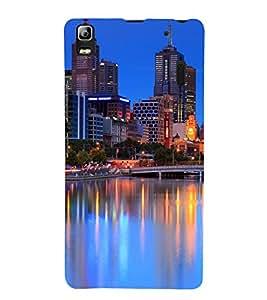 printtech City Building Lights Back Case Cover for Lenovo A7000