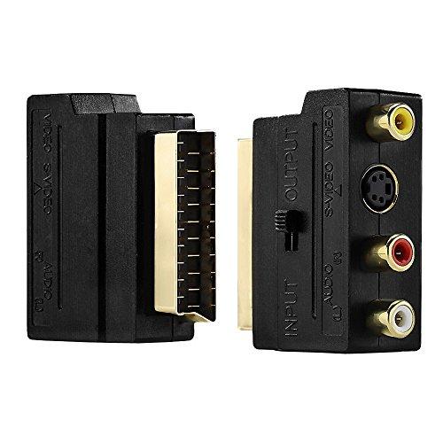 Somaer Scart Adapter 3X Cinch Buchsen in/Out Umschalter und S-Video/S-VHS AV Audio, Video Adapter - Scart RCA Konverter mit vergoldeten Steckverbindern