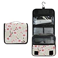 BIGJOKE Travel Hanging Toiletry Bag Japanese Skura Cherry Blossom Portable Cosmetic Makeup Bag Case Organizer Wash Gargle Bag Waterproof with Hook for Women Men for Cosmetics and Toilet Accessories