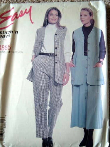 MISSES LINED VEST, PULL-ON PANTS & SKIRT SIZE 10-12-14-16 STITCH 'N SAVE BY MCCALLS SEWING PATTERN #8885 RATED EASY by Stitch 'n Save