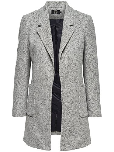 ONLY Damen Blazer Kurzmantel Übergangsmantel Light Grey Melange XL