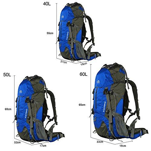 oxking TopSky Outdoor Wandern Klettern Unisex Canvas Rucksack Daypacks Wasserdicht Professionelle Bergsteigen Rucksack t30621Schultertasche 40l-60l Hohe Cpacity Unisex Trekking Reisen Rucksack Tasche Blau - blau