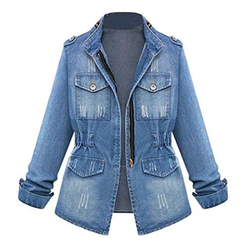 Linnuo collo in piedi denim giacca donna elegante maniche lunghe giubbotto di jeans tunica cappotto con cerniera blu 2xl