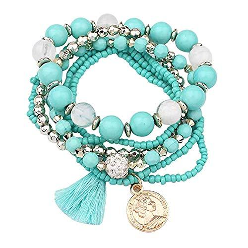 XIAOLULU Mode Damen Armband Frauen Multilayer Perlen Armreif Anhänger Quasten Charm Wrap Candy Farbe Armbänder für Damen Teen Mädchen Schmuck Geschenke Armreif für Damenmädchen (Farbe : Blau)