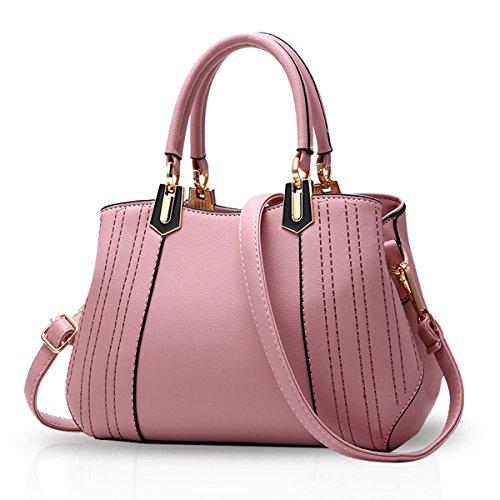 Borsa Donna Borsa Donna Tracolla Shopper Donna Nicole & Doris Pu Nero-bianco Rosa Chiaro B