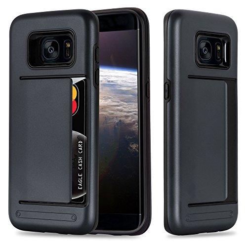 Cadorabo samsung galaxy s7 edge custodia silicone tpu e hard case guardian carte in nero armatura hybrid cover protettiva con bordo protezione back case ultra slim gel plastica bumper fina