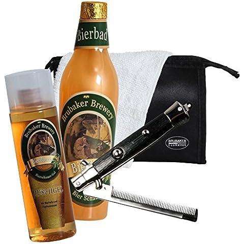 Brubaker–Juego de baño cerveza–5piezas–Idea regalo para hombre–con–Neceser de baño, toalla y peine plegable