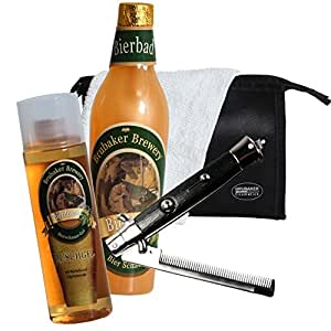 brubaker bier badeset geschenkset f r m nner mit kulturbeutel waschlappen und faltkamm f r. Black Bedroom Furniture Sets. Home Design Ideas